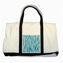 Skin4 White Marble & Turquoise Glitter (r) Two Tone Tote Bag by trendistuff