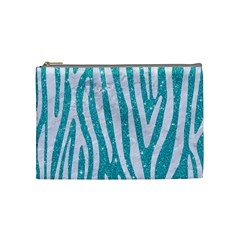 Skin4 White Marble & Turquoise Glitter (r) Cosmetic Bag (medium)  by trendistuff