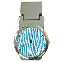 Skin4 White Marble & Turquoise Glitter Money Clip Watches