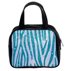 Skin4 White Marble & Turquoise Glitter Classic Handbags (2 Sides) by trendistuff