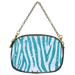 Skin4 White Marble & Turquoise Glitter Chain Purses (two Sides)  by trendistuff