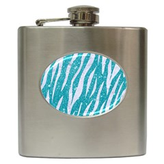 Skin3 White Marble & Turquoise Glitter Hip Flask (6 Oz) by trendistuff