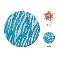 Skin3 White Marble & Turquoise Glitter Playing Cards (round)  by trendistuff