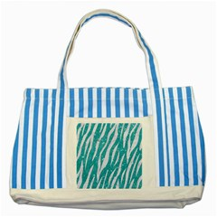 Skin3 White Marble & Turquoise Glitter Striped Blue Tote Bag by trendistuff