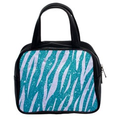 Skin3 White Marble & Turquoise Glitter Classic Handbags (2 Sides) by trendistuff