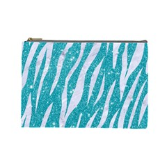 Skin3 White Marble & Turquoise Glitter Cosmetic Bag (large)  by trendistuff