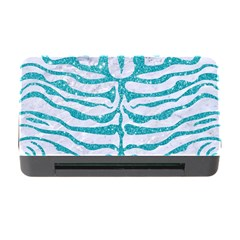 Skin2 White Marble & Turquoise Glitter (r) Memory Card Reader With Cf by trendistuff