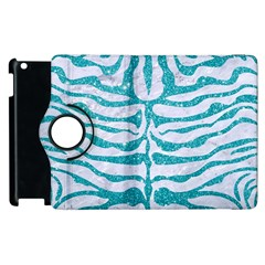 Skin2 White Marble & Turquoise Glitter (r) Apple Ipad 2 Flip 360 Case by trendistuff