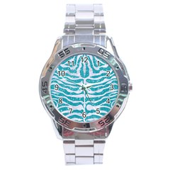 Skin2 White Marble & Turquoise Glitter Stainless Steel Analogue Watch by trendistuff