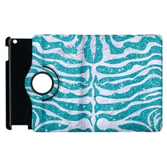 Skin2 White Marble & Turquoise Glitter Apple Ipad 2 Flip 360 Case by trendistuff