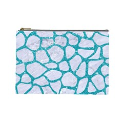 Skin1 White Marble & Turquoise Glitter Cosmetic Bag (large)  by trendistuff