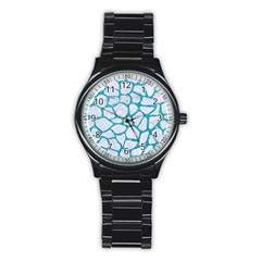 Skin1 White Marble & Turquoise Glitter Stainless Steel Round Watch by trendistuff