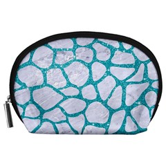 Skin1 White Marble & Turquoise Glitter Accessory Pouches (large)  by trendistuff