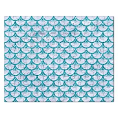 Scales3 White Marble & Turquoise Glitter (r) Rectangular Jigsaw Puzzl by trendistuff