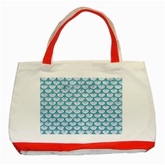 Scales3 White Marble & Turquoise Glitter (r) Classic Tote Bag (red) by trendistuff