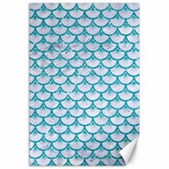 Scales3 White Marble & Turquoise Glitter (r) Canvas 20  X 30   by trendistuff