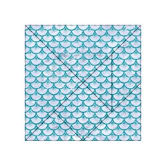 Scales3 White Marble & Turquoise Glitter (r) Acrylic Tangram Puzzle (4  X 4 ) by trendistuff