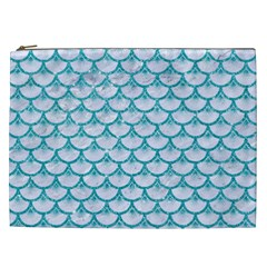 Scales3 White Marble & Turquoise Glitter (r) Cosmetic Bag (xxl)  by trendistuff