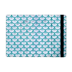 Scales3 White Marble & Turquoise Glitter (r) Apple Ipad Mini Flip Case by trendistuff