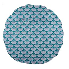 Scales3 White Marble & Turquoise Glitter (r) Large 18  Premium Round Cushions by trendistuff