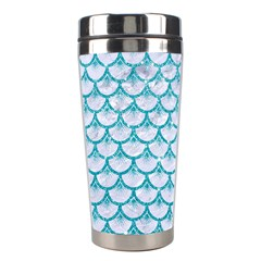Scales3 White Marble & Turquoise Glitter (r) Stainless Steel Travel Tumblers by trendistuff
