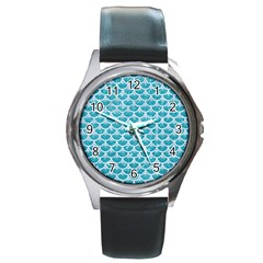 Scales3 White Marble & Turquoise Glitter Round Metal Watch