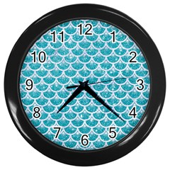 Scales3 White Marble & Turquoise Glitter Wall Clocks (black) by trendistuff