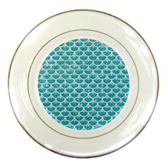 Scales3 White Marble & Turquoise Glitter Porcelain Plates by trendistuff