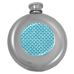 Scales3 White Marble & Turquoise Glitter Round Hip Flask (5 Oz) by trendistuff