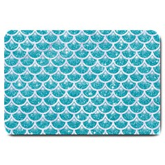 Scales3 White Marble & Turquoise Glitter Large Doormat