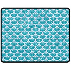 Scales3 White Marble & Turquoise Glitter Fleece Blanket (medium)  by trendistuff