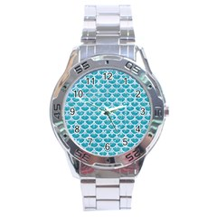 Scales3 White Marble & Turquoise Glitter Stainless Steel Analogue Watch by trendistuff
