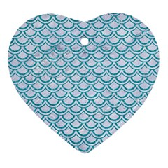 Scales2 White Marble & Turquoise Glitter (r) Ornament (heart) by trendistuff