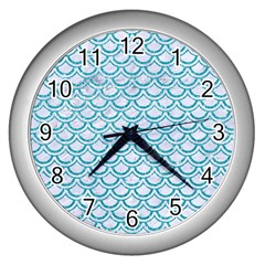 Scales2 White Marble & Turquoise Glitter (r) Wall Clocks (silver)  by trendistuff