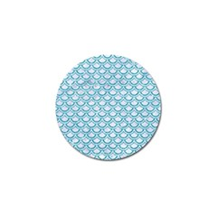 Scales2 White Marble & Turquoise Glitter (r) Golf Ball Marker (10 Pack) by trendistuff