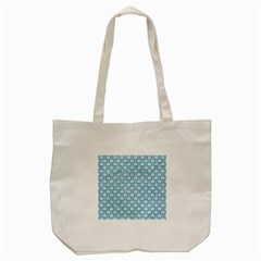 Scales2 White Marble & Turquoise Glitter (r) Tote Bag (cream)