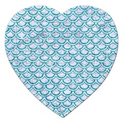 Scales2 White Marble & Turquoise Glitter (r) Jigsaw Puzzle (heart) by trendistuff