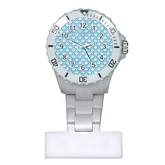 Scales2 White Marble & Turquoise Glitter (r) Plastic Nurses Watch by trendistuff