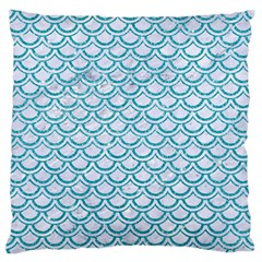 Scales2 White Marble & Turquoise Glitter (r) Large Flano Cushion Case (one Side) by trendistuff