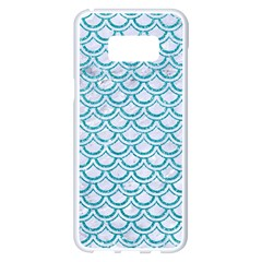 Scales2 White Marble & Turquoise Glitter (r) Samsung Galaxy S8 Plus White Seamless Case by trendistuff