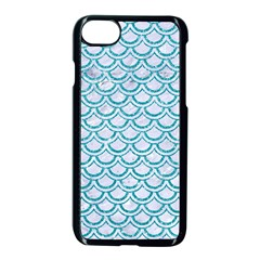Scales2 White Marble & Turquoise Glitter (r) Apple Iphone 8 Seamless Case (black) by trendistuff