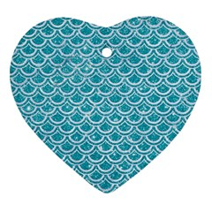 Scales2 White Marble & Turquoise Glitter Ornament (heart) by trendistuff