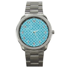 Scales2 White Marble & Turquoise Glitter Sport Metal Watch by trendistuff