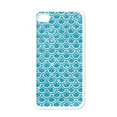 Scales2 White Marble & Turquoise Glitter Apple Iphone 4 Case (white) by trendistuff
