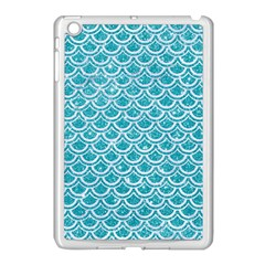 Scales2 White Marble & Turquoise Glitter Apple Ipad Mini Case (white) by trendistuff