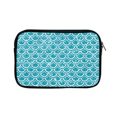 Scales2 White Marble & Turquoise Glitter Apple Ipad Mini Zipper Cases by trendistuff