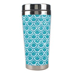 Scales2 White Marble & Turquoise Glitter Stainless Steel Travel Tumblers by trendistuff