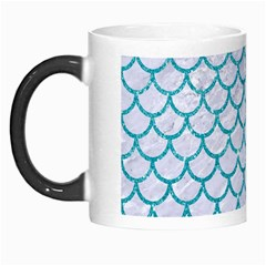 Scales1 White Marble & Turquoise Glitter (r) Morph Mugs by trendistuff
