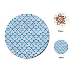Scales1 White Marble & Turquoise Glitter (r) Playing Cards (round)  by trendistuff