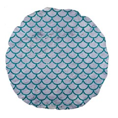 Scales1 White Marble & Turquoise Glitter (r) Large 18  Premium Flano Round Cushions by trendistuff